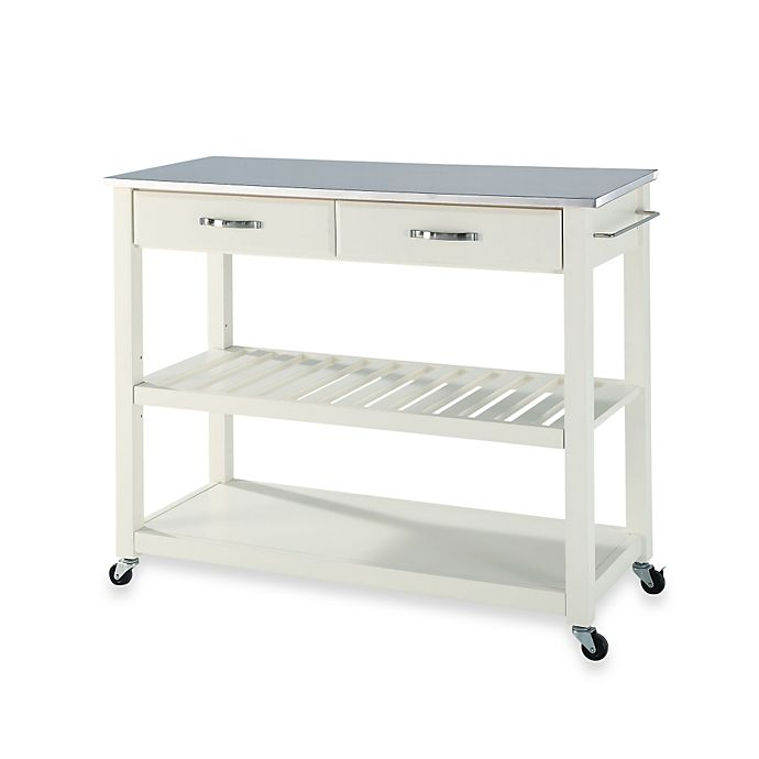 Alternate image 1 for Crosley Stainless Steel Top Rolling Kitchen Cart/Island With Removable Shelf