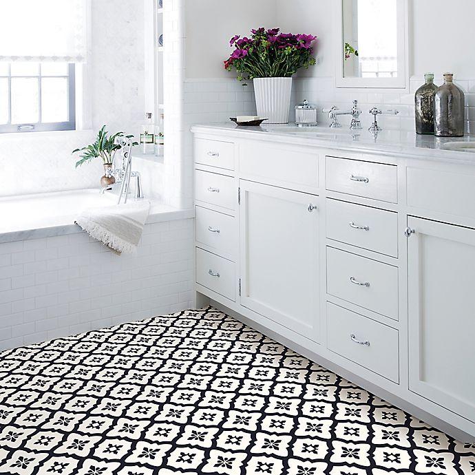 Alternate image 1 for Comet Peel & Stick Floor Tiles in Black/White (Set of 20)