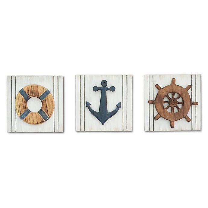 T I Design 3 Piece Nautical Panel Plaque Multicolor Wood Wall Art