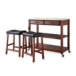 Crosley Natural Wood Top Kitchen Rolling Cart/Island With Matching Upholstered Saddle Stools