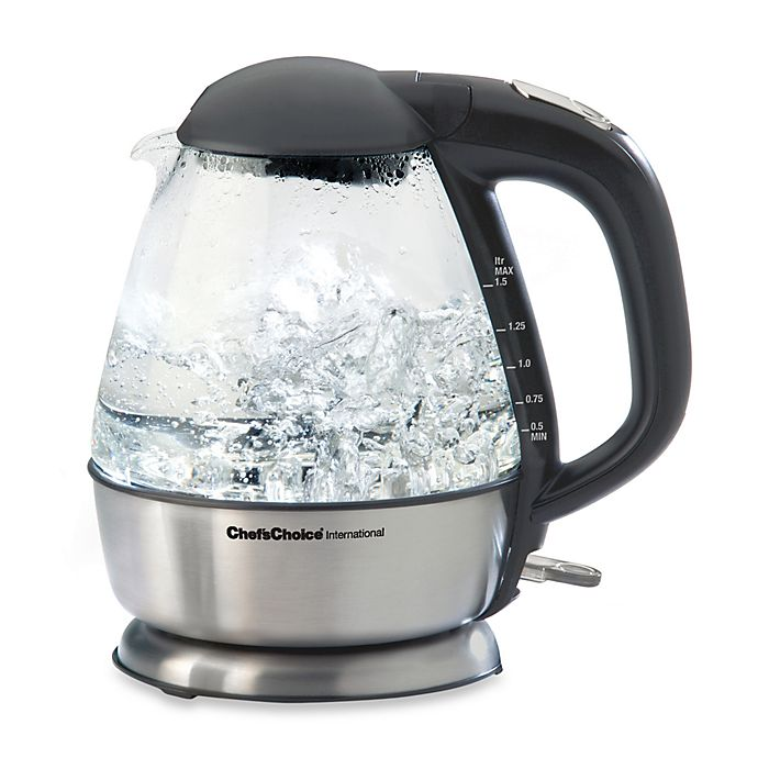 Alternate image 1 for Chef'sChoice® International 1.5-Quart Cordless Electric Glass Kettle