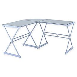 Techni Mobili L-Shape Glass Computer Desk in White