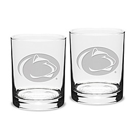 Penn State University 14 oz. Traditional Double Old Fashion Glasses (Set of 2)