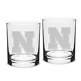 University of Nebraska 14 oz. Traditional Double Old Fashion Glasses (Set of 2)