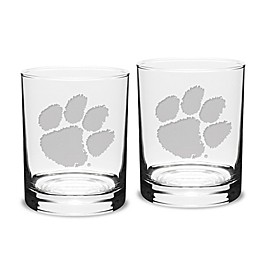 Clemson University 14 oz. Traditional Double Old Fashion Glasses (Set of 2)