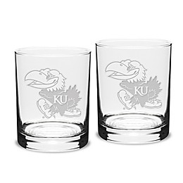 University of Kansas 14 oz. Traditional Double Old Fashion Glasses (Set of 2)