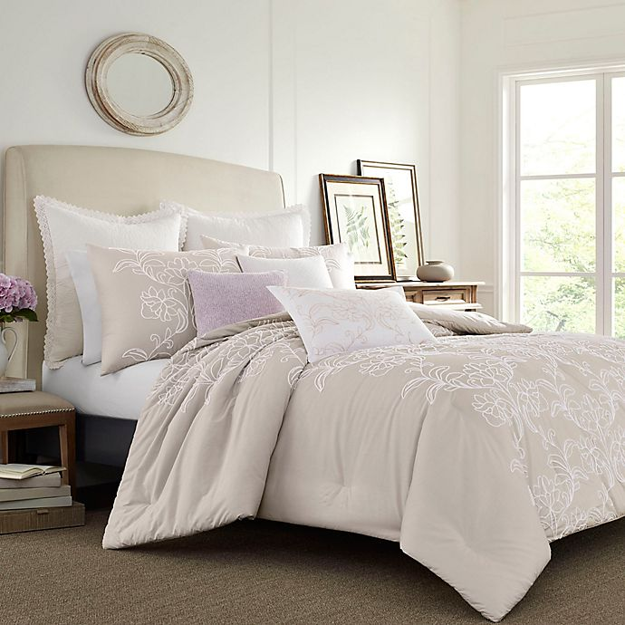 Alternate image 1 for Laura Ashley® Claire Solid Embroidered Duvet Set in Natural