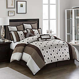 Nanshing Grayson 8-Piece Reversible Queen Comforter Set in Brown/Taupe