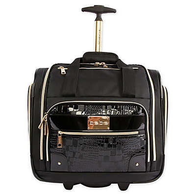 BEBE Danielle 15.5-Inch Rolling Under the Seat Carry On Tote in Black
