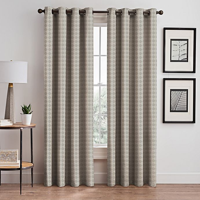 Alternate image 1 for Diamond 84-Inch Grommet Window Curtain Panel in Taupe