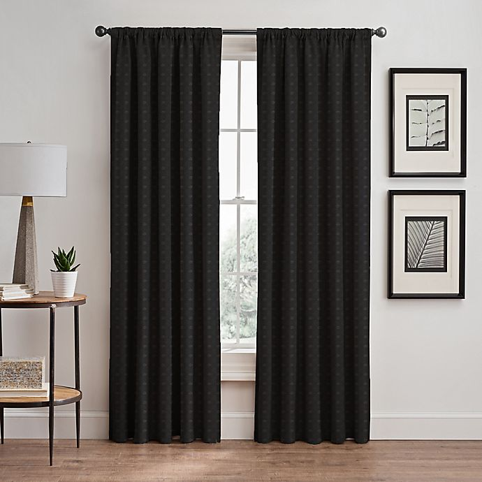 Alternate image 1 for Diamond 84-Inch Rod Pocket/Back Tab Window Curtain Panel in Charcoal