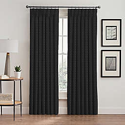 Diamond 95-Inch Pinch Pleat Window Curtain Panel in Charcoal