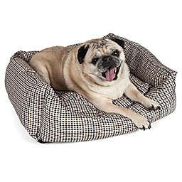 Medium Rectangular Dog Bed in Brown/Blue