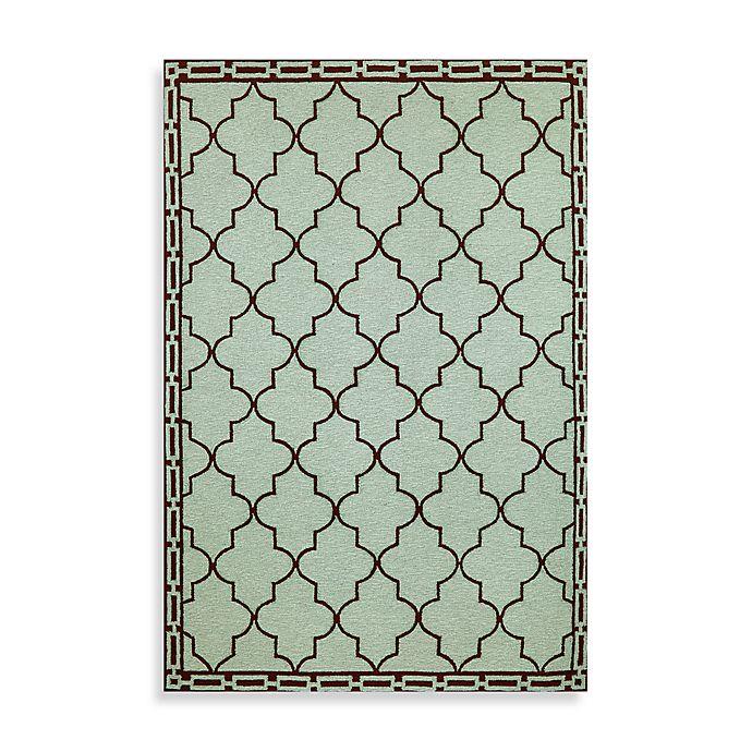 Trans-Ocean Floor Tile Aqua Indoor/Outdoor Rug