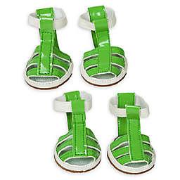 Pet Life® Buckle Supportive Medium Waterproof Dog Sandals in Neon Green (Set of 4)