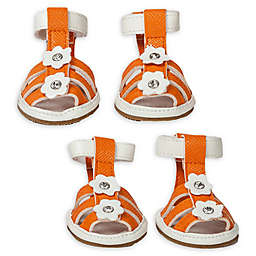 Pet Life® Buckle Supportive Small Waterproof Dog Sandals in Orange (Set of 4)