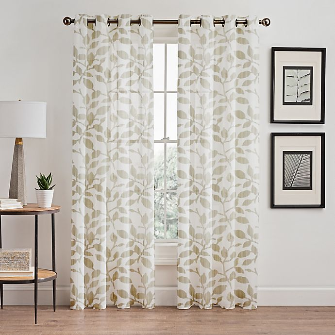 Floral Burnout Sheer Window Curtain Panel