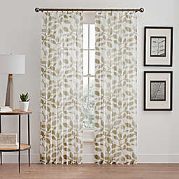 Floral Burnout Sheer Pinch Pleat Window Curtain Panel