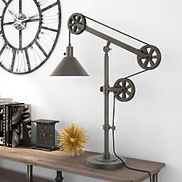 Hudson&Canal Descartes Table Lamp in Aged Steel