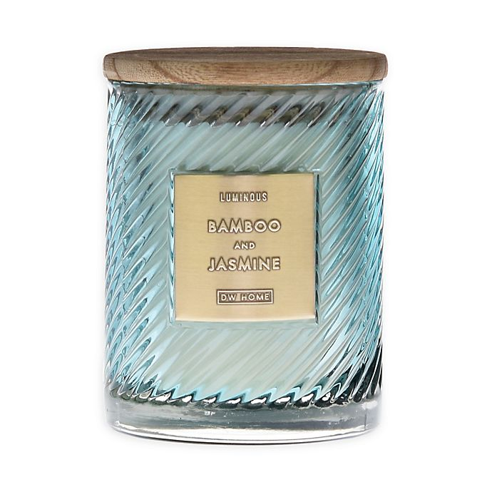 Alternate image 1 for DW Home Spiral Stripe Bamboo Jasmine 17 oz. Jar Candle