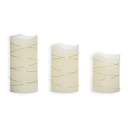 Candle Impressions® 3-Pack Pillar Candle with String Lights in Cream