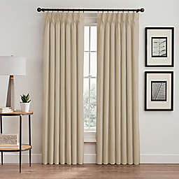 Vertical Pleat 95-Inch Pinch Pleat Room-Darkening Window Curtain Panel in Linen