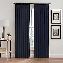 Vertical Pleat 108-Inch Pinch Pleat Room-Darkening Window Curtain Panel in Navy
