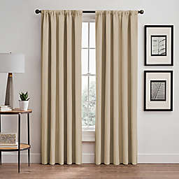 Vertical Pleat 95-Inch Rod Pocket/Back Tab Room-Darkening Window Curtain Panel in Linen