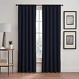 Vertical Pleat 63-Inch Rod Pocket/Back Tab Room-Darkening Window Curtain Panel in Navy