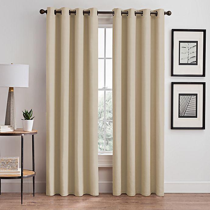 Alternate image 1 for Vertical Pleat 84-Inch Grommet Room-Darkening Window Curtain Panel in Linen