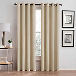 Vertical Pleat 84-Inch Grommet Room-Darkening Window Curtain Panel in Linen