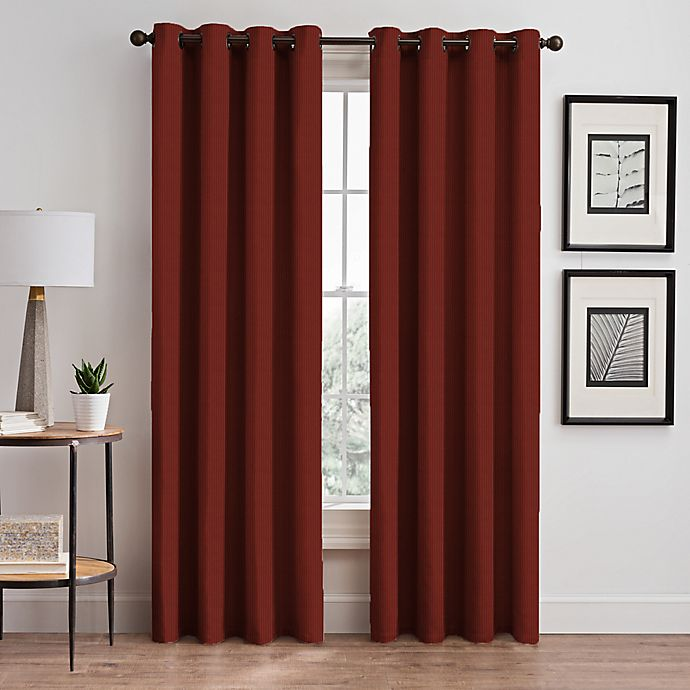 Alternate image 1 for Vertical Pleat 63-Inch Grommet Room-Darkening Window Curtain Panel in Cayenne