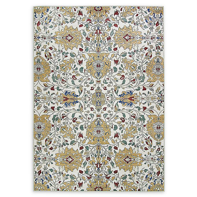 Alternate image 1 for RUGGABLE® Traditional Floral 5' x 7' Flat-Weave Indoor/Outdoor Area Rug in Cream