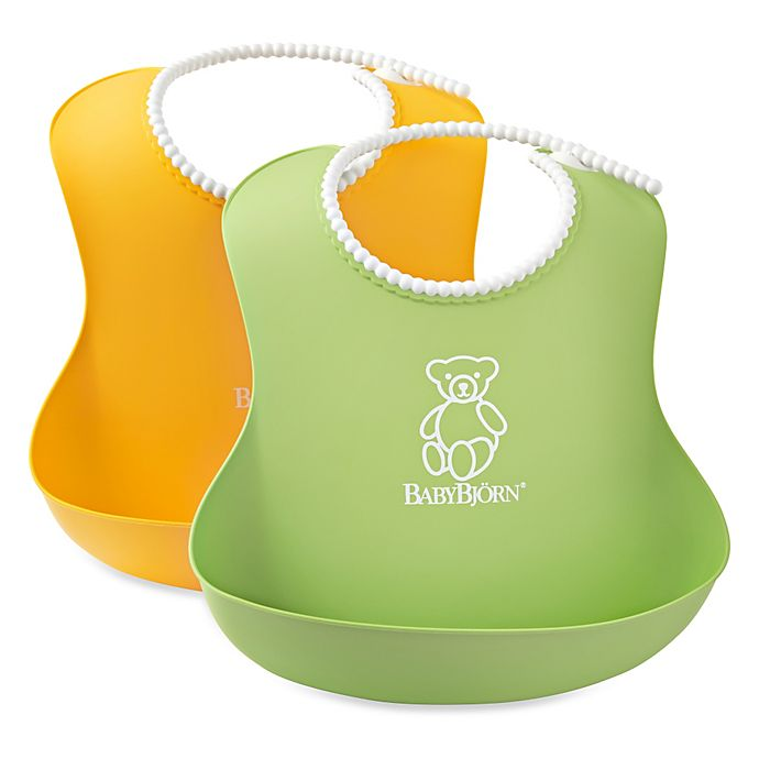 Alternate image 1 for BABYBJORN® Soft Bib 2-Pack in Green/Yellow