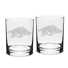University of Arkansas 14 oz. Traditional Double Old Fashion Glasses (Set of 2)