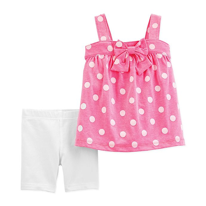 Alternate image 1 for carter's® 2-Piece Polka Dot Shirt and Short Set in Coral