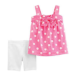 carter's® 2-Piece Polka Dot Shirt and Short Set in Coral