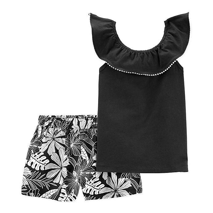 Alternate image 1 for carter's® 2-Piece Pom Pom Shirt and Short Set in Black/White