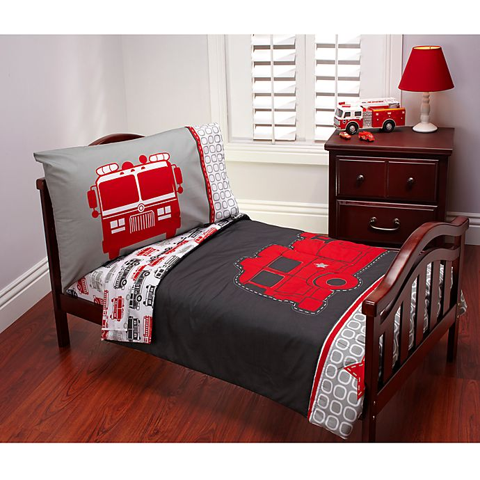 Alternate image 1 for carter's® Fire Truck 4-Piece Toddler Bedding Set