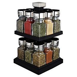 Olde Thompson 16-Jar 2-Tier Square Carousel Spice Rack