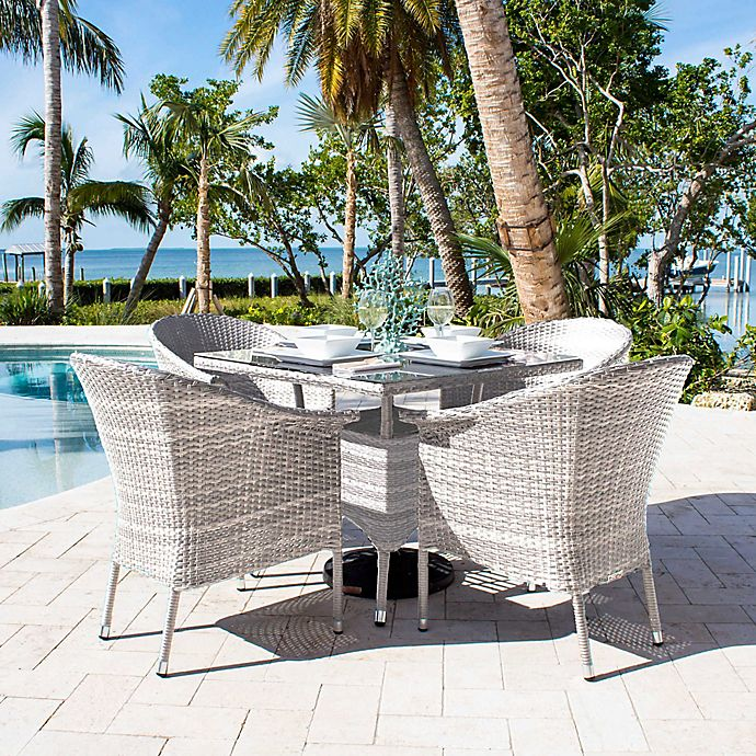 Athens 5 Piece Patio Armchair Dining Set In White Wash With Cushions