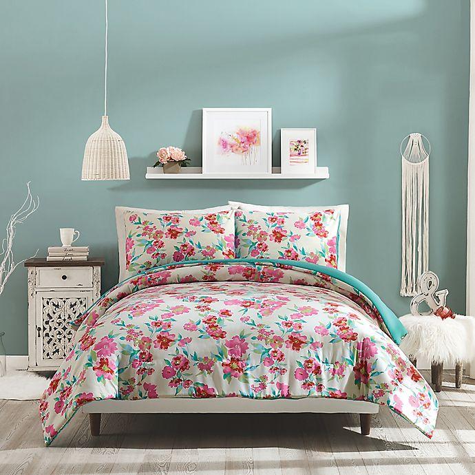 Alternate image 1 for Jessica Simpson Floral Trellis Reversible Comforter Set