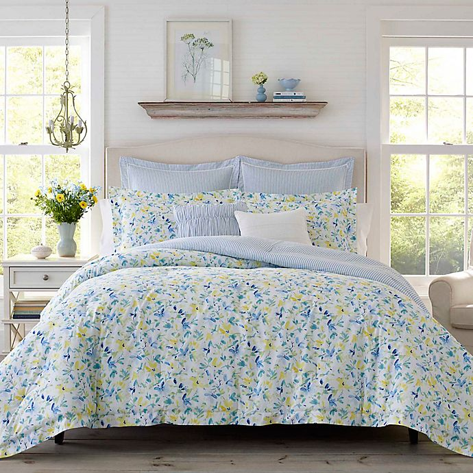 Alternate image 1 for Laura Ashley® Nora Twin Comforter Bonus Set in Sun Blue