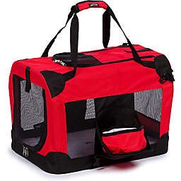 Folding Deluxe 360-Degree Vista View Extra Large Pet Crate in Red