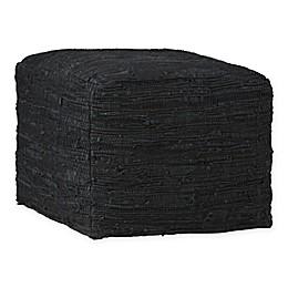 Simpli Home Square Leather Fredrik Ottoman in Black