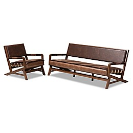 Baxton Studio Hyacinth 2-Piece Seating Set in Brown/Walnut