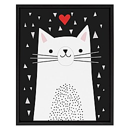 Marmalade™ Illustrated Cat 16-Inch x 20-Inch Framed Canvas Wall Art in Black