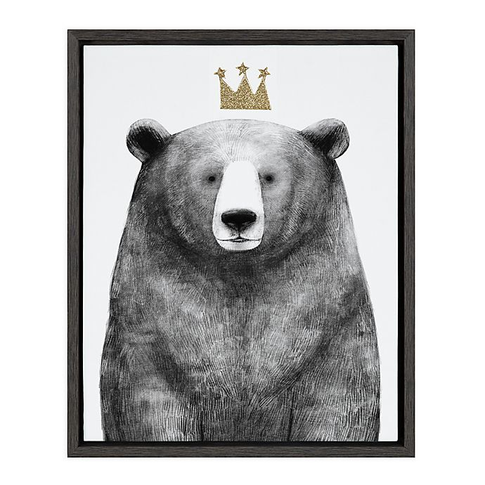 Alternate image 1 for Marmalade™ Royal Forester Bear 16-Inch x 20-Inch Framed Canvas Wall Art in Dark Grey