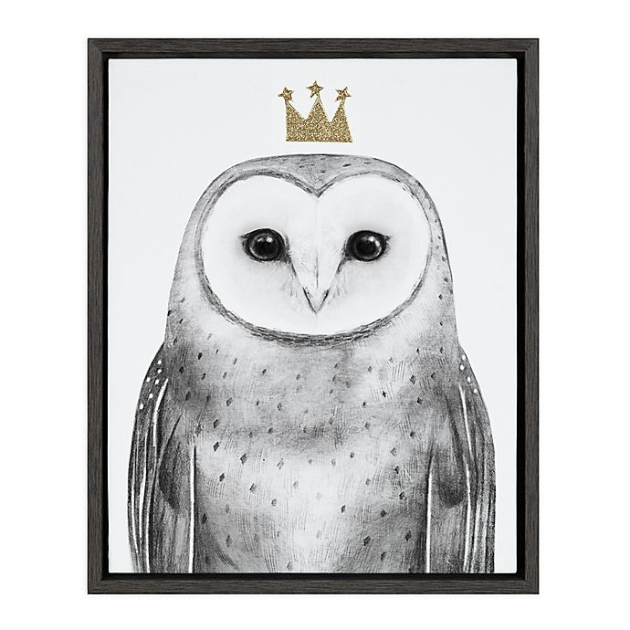 Alternate image 1 for Marmalade™ Royal Forester Owl 16-Inch x 20-Inch Framed Canvas Wall Art in Dark Grey
