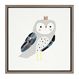 Marmalade™ Crowned Critter Owl I 16-Inch x 16-Inch Framed Canvas Wall Art in Grey Wash